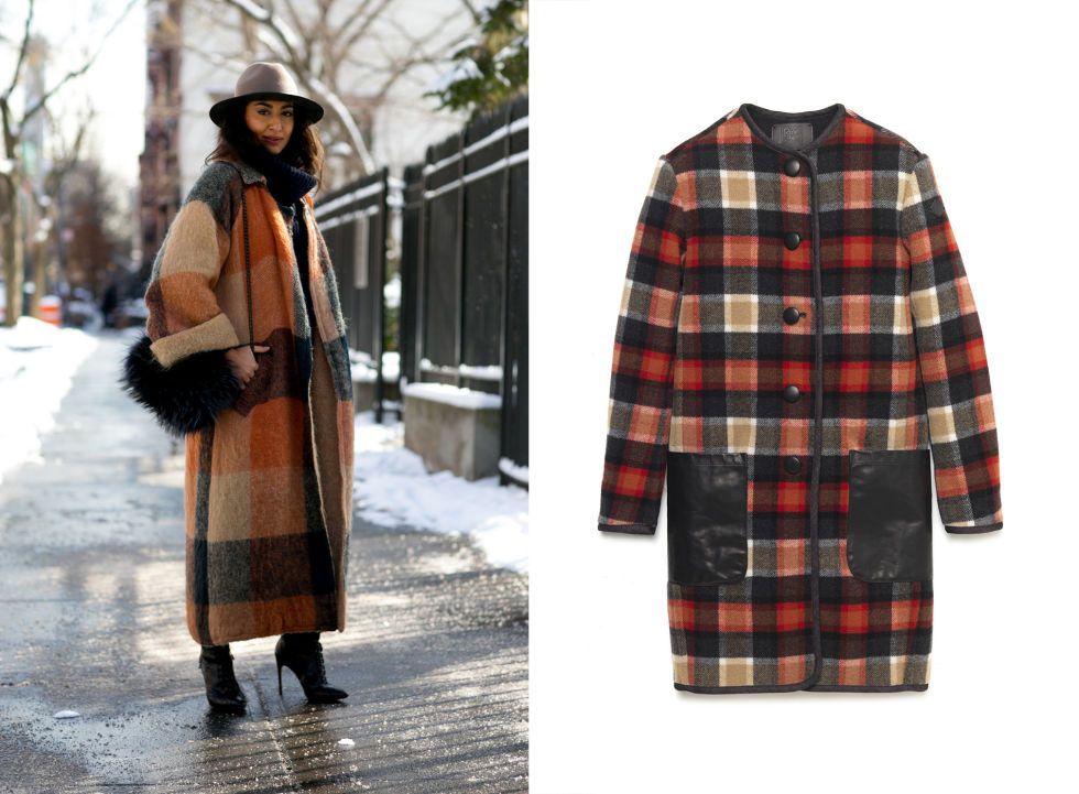 Cappotto in lana check profilato con tasche in pelle, Roy Rogers
