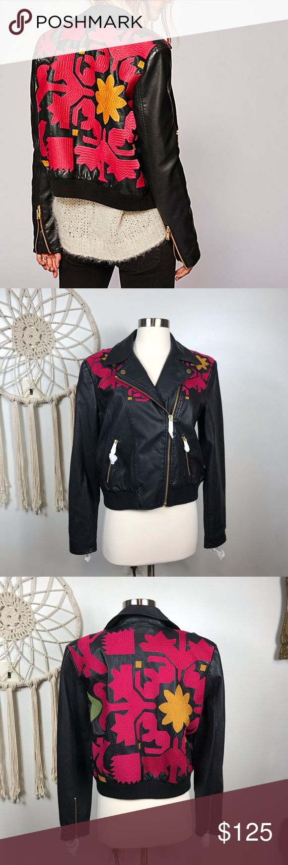 Free People Embroidered Vegan Leather Bomber Leather
