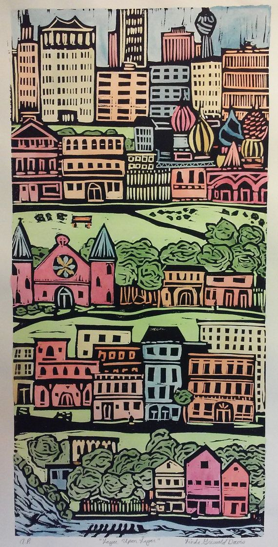 Layer Upon By GrizzieRelief On Etsy Original Linoleum Block Print Limited Edition