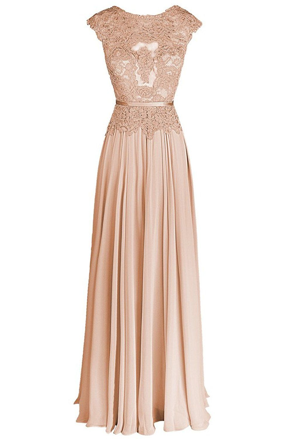 cc8993abdf8 Dresstail Women s Long Chiffon Bridesmaid Dress Lace Prom Evening Gown Cap  Sleeves Champagne US 2
