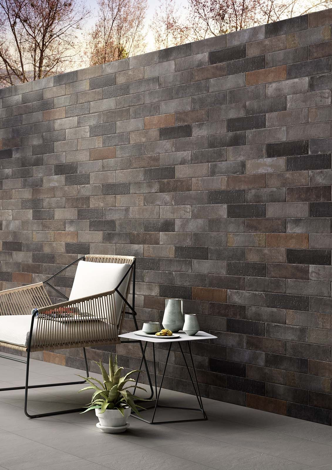 Terramix brick nero wall and floor tiles terramix brick effect porcelain stoneware marazzi