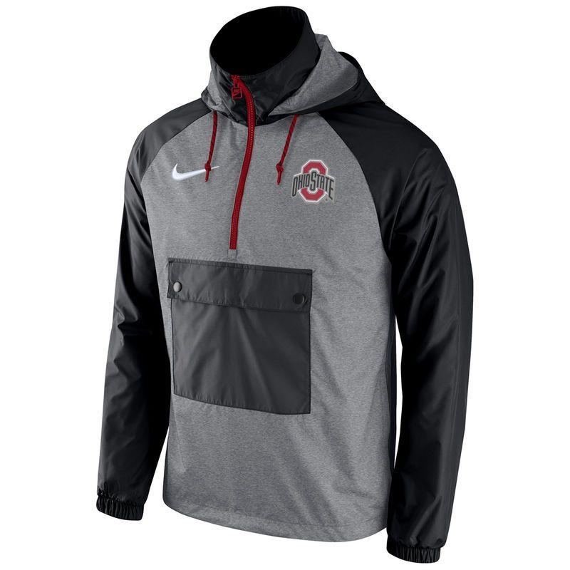 Ohio State Buckeyes Nike Anorak Half-Zip Jacket - Charcoal/Black