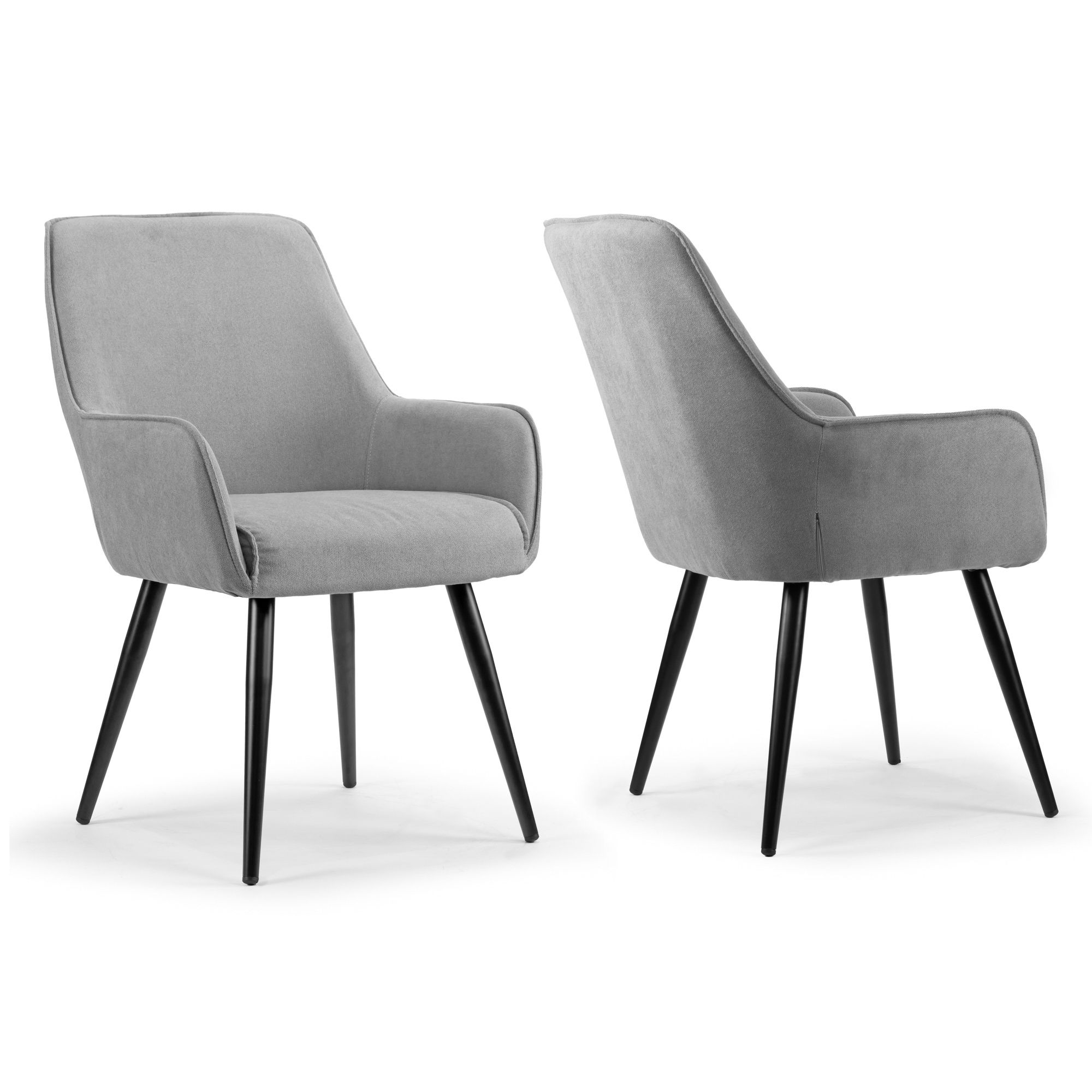 Amir Grey Fabric Dining Chair With Black Metal Legs And Square
