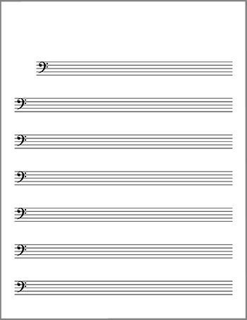Bass clef blank lead sheet title page Cello Pinterest Clef