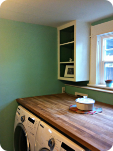 Butcher Block Counter Over Washer And Dryer Burrus House