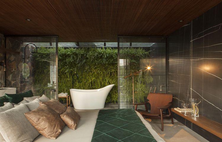 freistehende badewanne schlafzimmer, sichtschutz innen jalousien glaswand schlafzimmer bad freistehende, Design ideen
