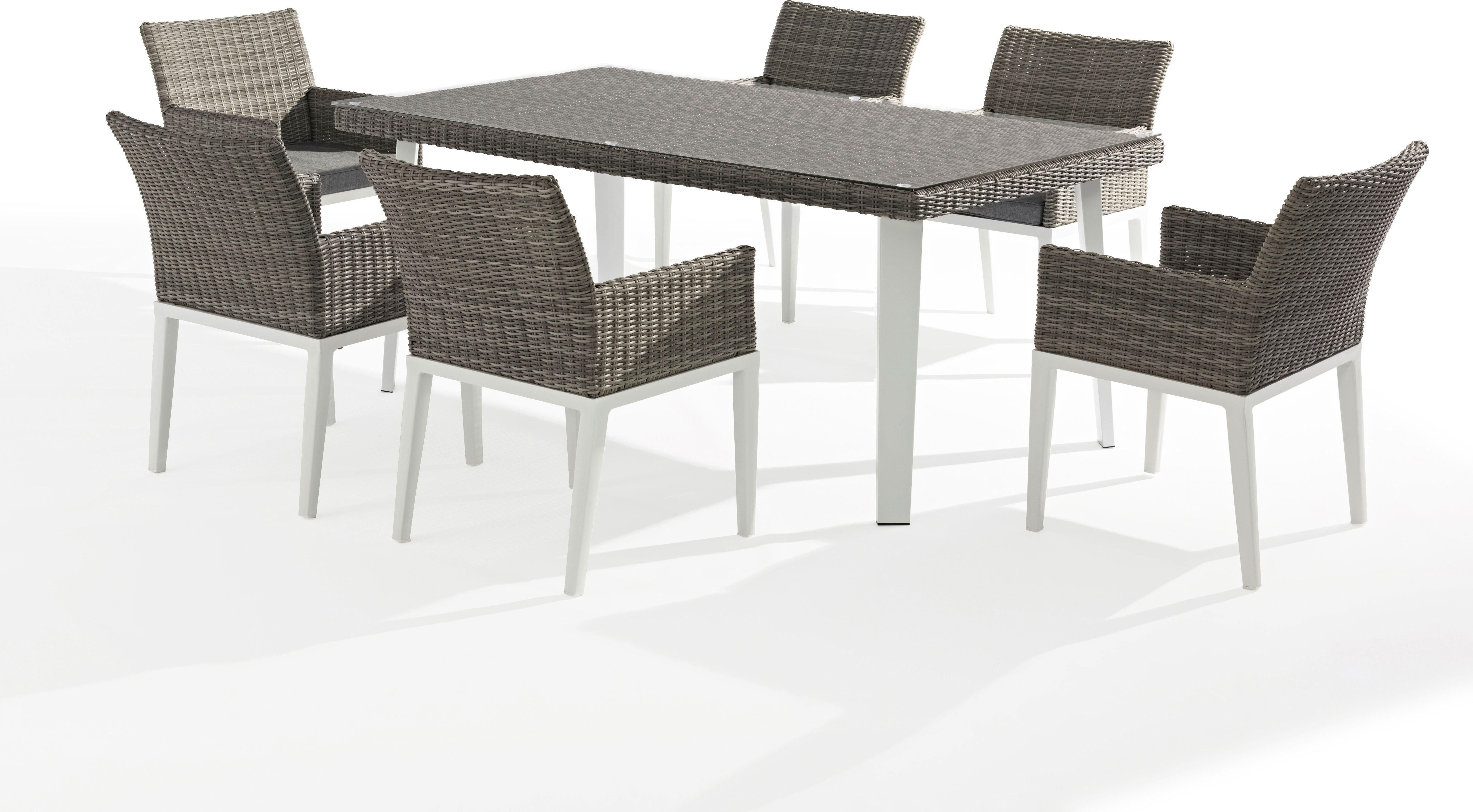 X6 Fauteuils + table de jardin ORLANDO aluminium et résine ...