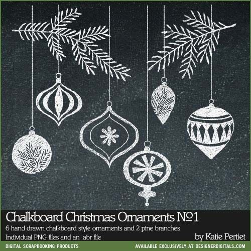 Chalkboard Christmas Ornaments Brushes and Stamps No 01
