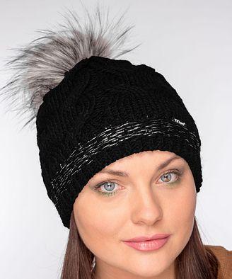 2c7a8405187 Black Cable-Knit Faux-Fur Wool-Blend Fleece-Lined Beanie  hat  womens