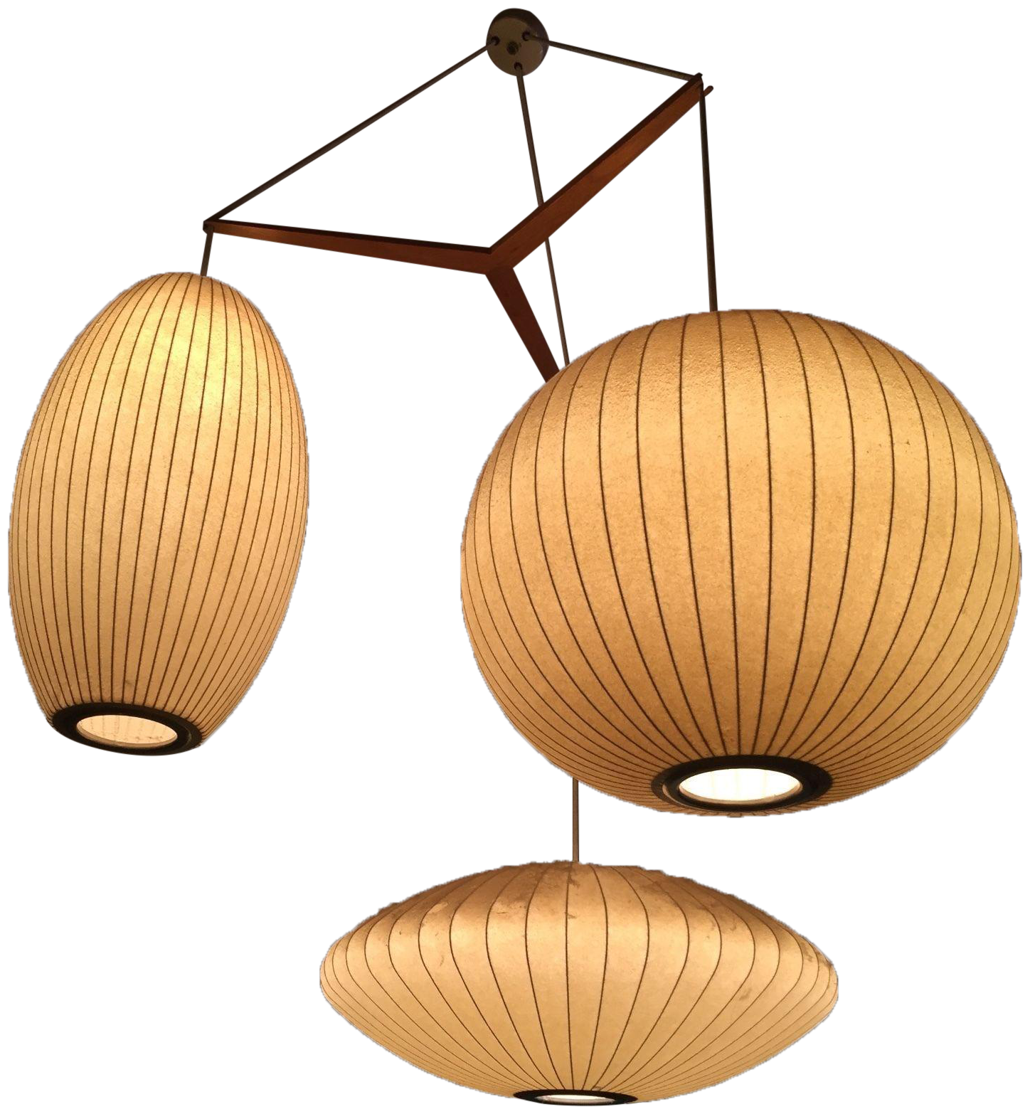 mobile century brushed products lighting mid modern chandelier of midcentury light nickel shades