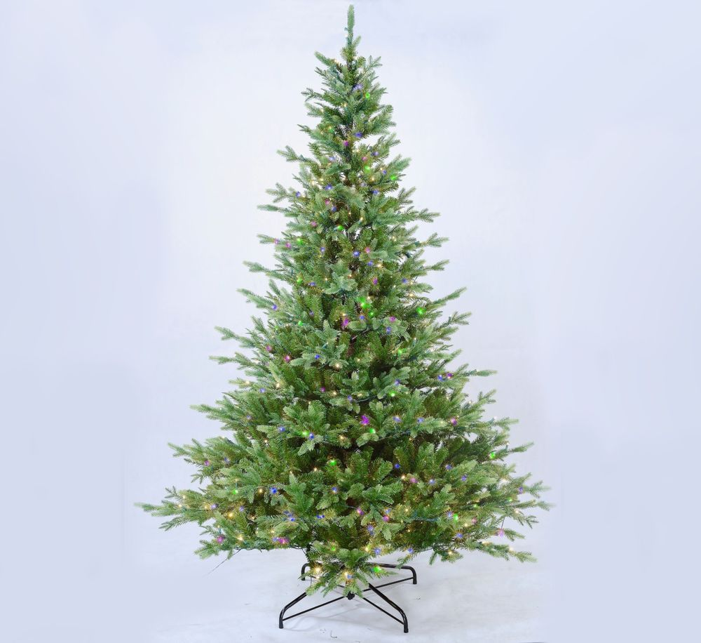 7.5\' Pre Lit Aspen Artificial Christmas Tree 600 LED Multicolor LED ...