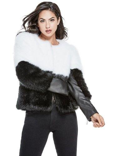 036bfd4aab Guess Women's Sammi Faux-Fur Jacket, Size: Small, Jet Black Multi ...