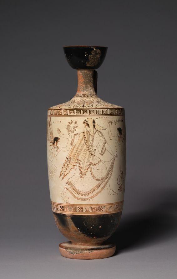 White Ground Lekythos Oil Vessel Atalanta And Erotes Ancient Greek Pottery Greek Pottery Greek Vases