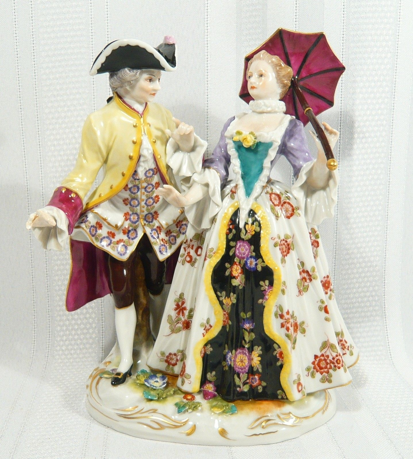 Antique Figurine Rudolstadt Volkstedt Group Lady Gentlemen German Porcelain | eBay  $99