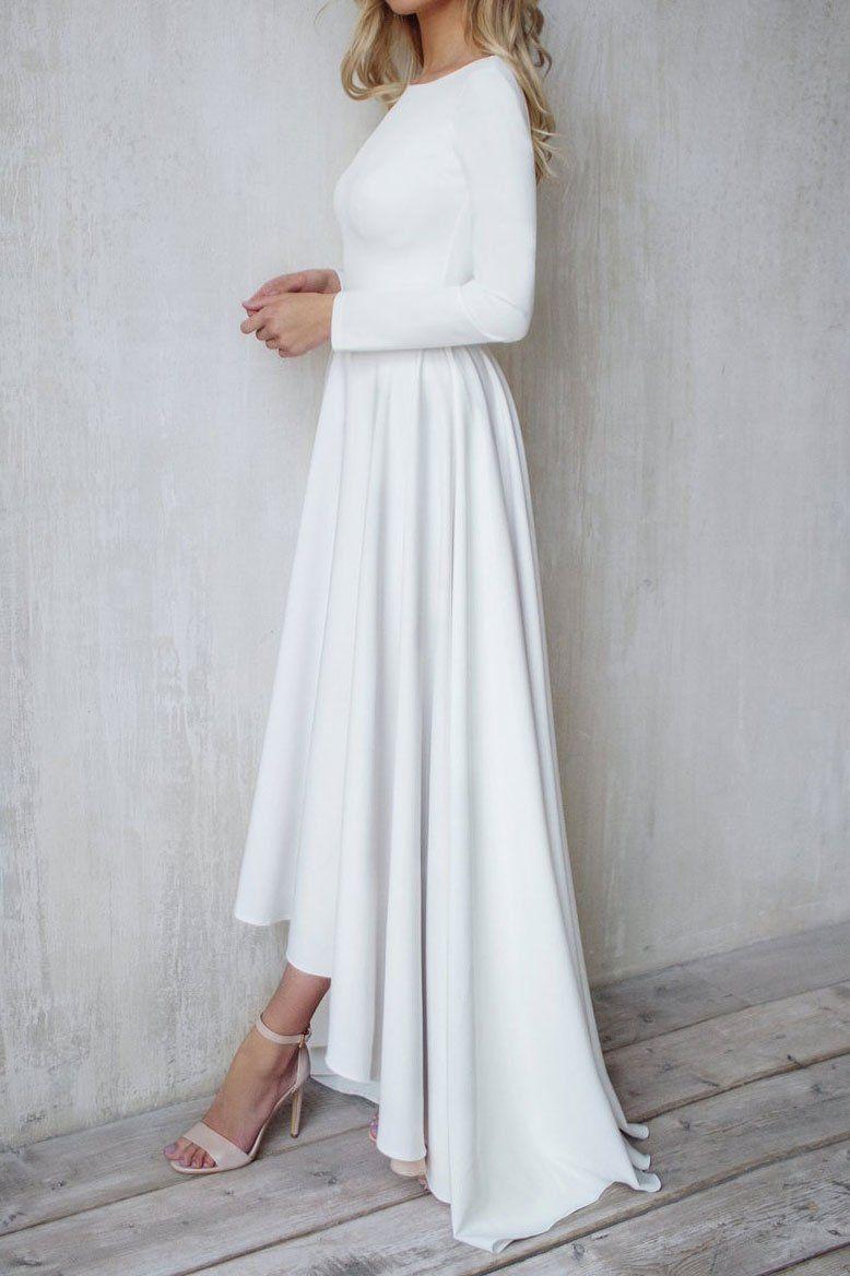 Simple Minimalist High Low Wedding Dress Et3005 Wedding Dresses High Low Satin Bridal Gowns Dresses [ 1168 x 778 Pixel ]