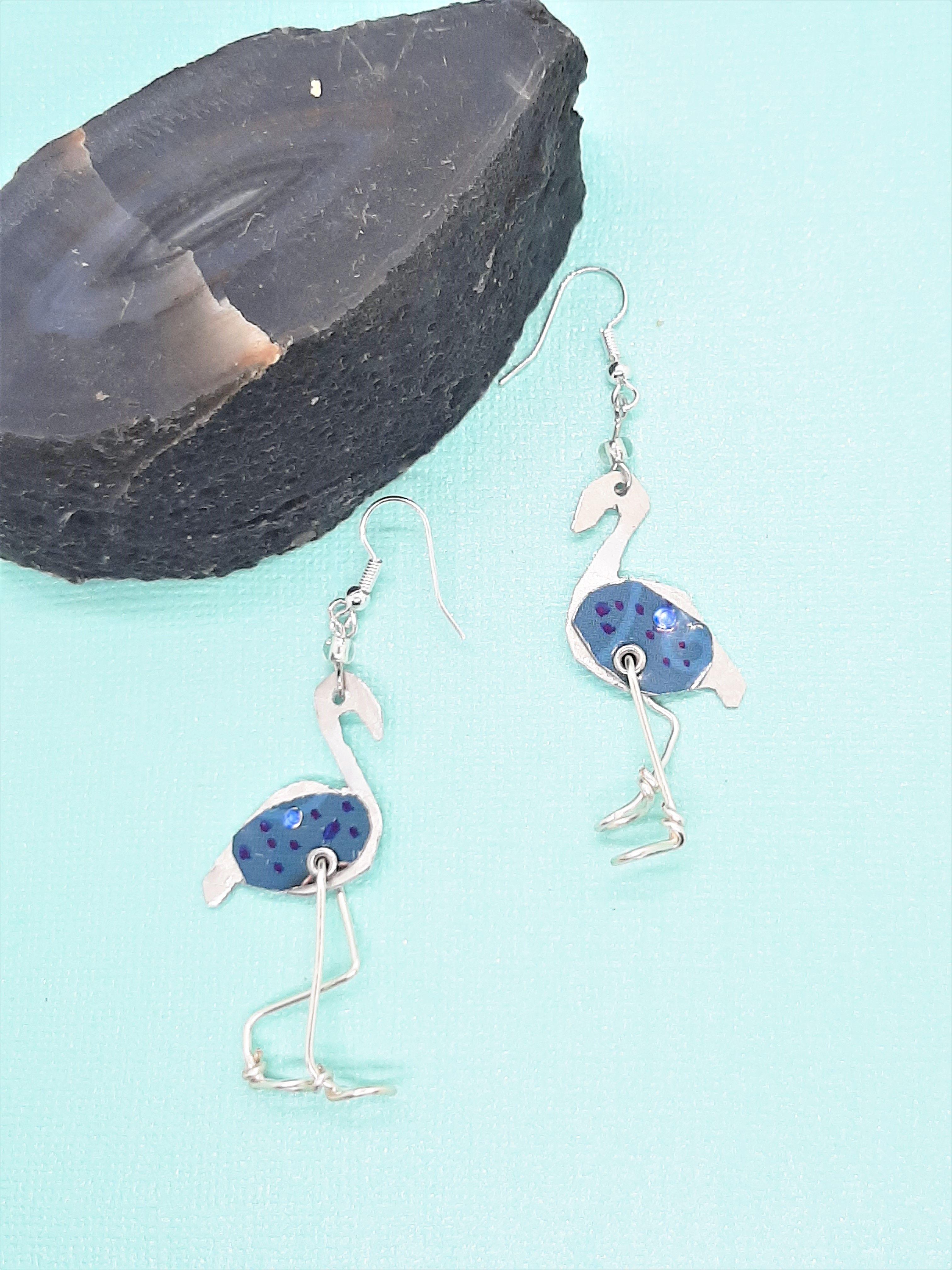 Flamingo Birds Earrings In 2020 Bird Earrings Blue Bird Flamingo Bird