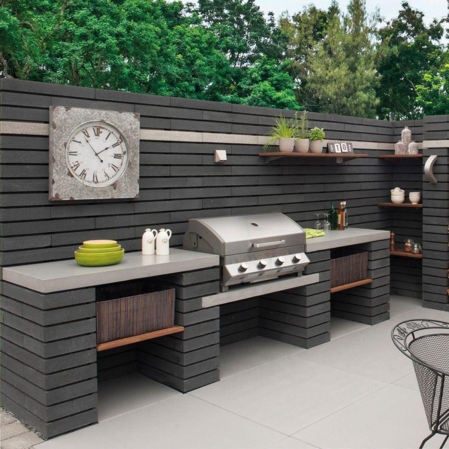 Outdoor Kitchen Ideas - Pavestone Paving-Manmade \'Moodul\'-Black WALL ...