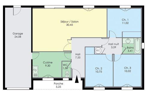 Pavillon de plain pied en 2019 ideas for the house plan maison plein pied plan maison plain - Construire sa maison plain pied ...