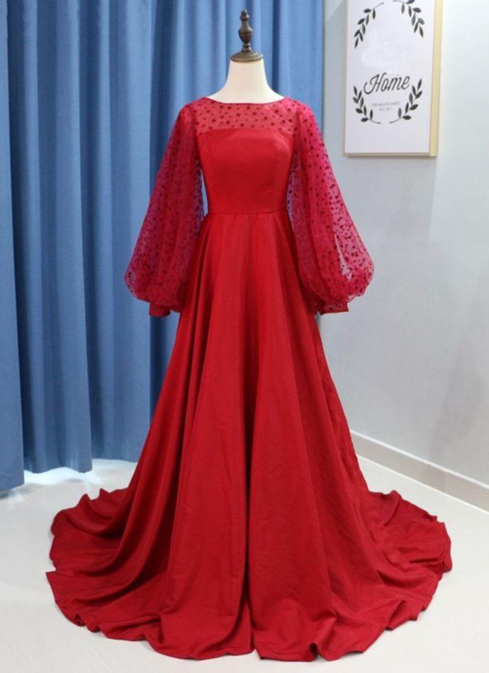 Burgundy Satin Long Sleeve Open Back A Line Evening Dress, Formal Dress