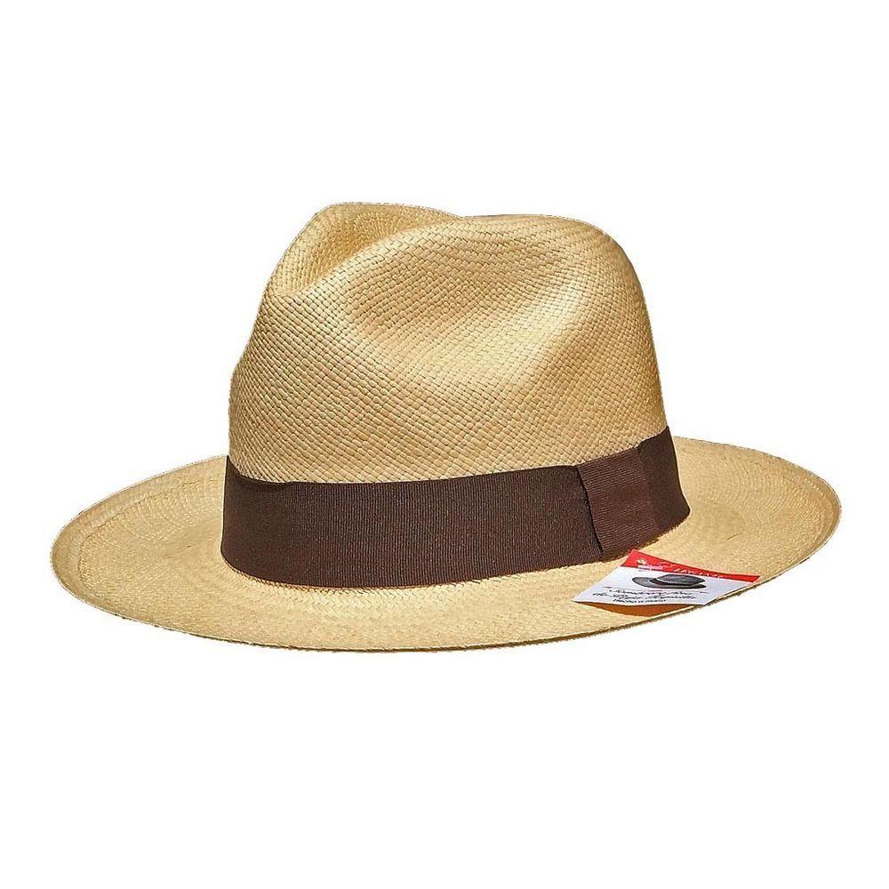 HAND WOVEN CLASSIC FEDORA 100/% GENUINE PANAMA HAT ECUADOR GIFT BOX AS J.CREW