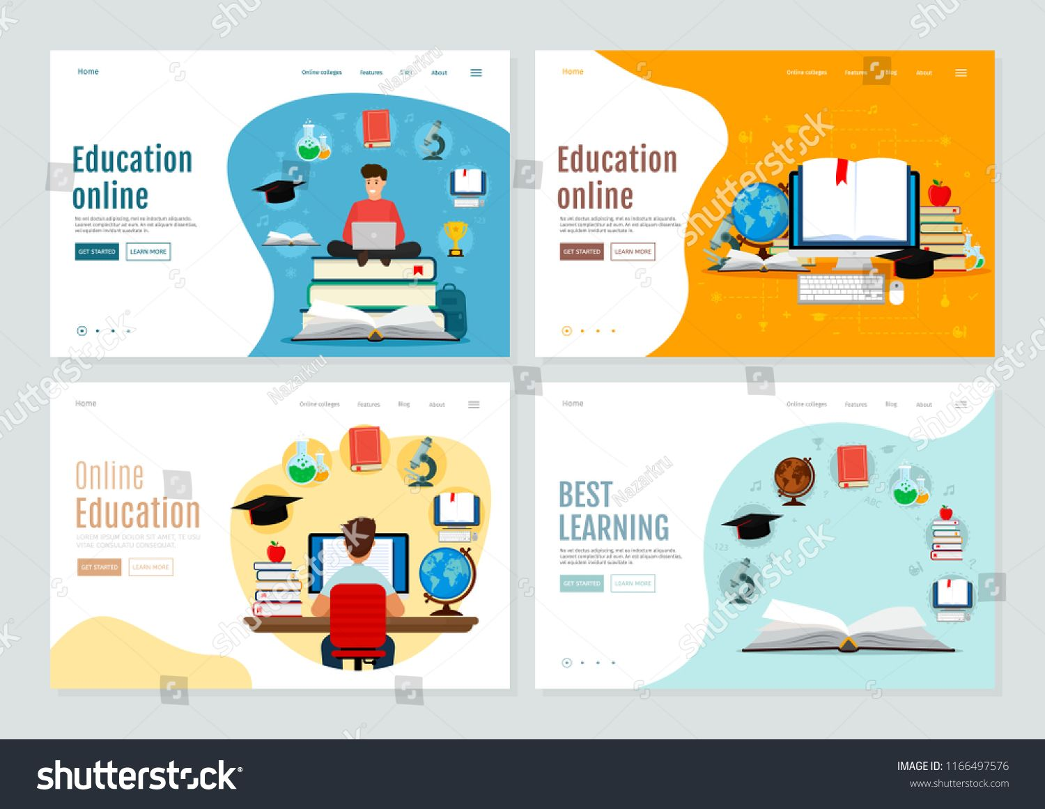 Set Of Landing Page Template For Online Education And E Learning Vector Modern Illustration Flat Learning Template Online Education Learning Online Education
