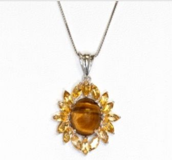 These pendants are made with genuine 7.3CTW  Tiger Eye & Citrine gemstones and sterling silver. This high finish ring is also applied with Rhodium plating to improve the shine and look of this product.