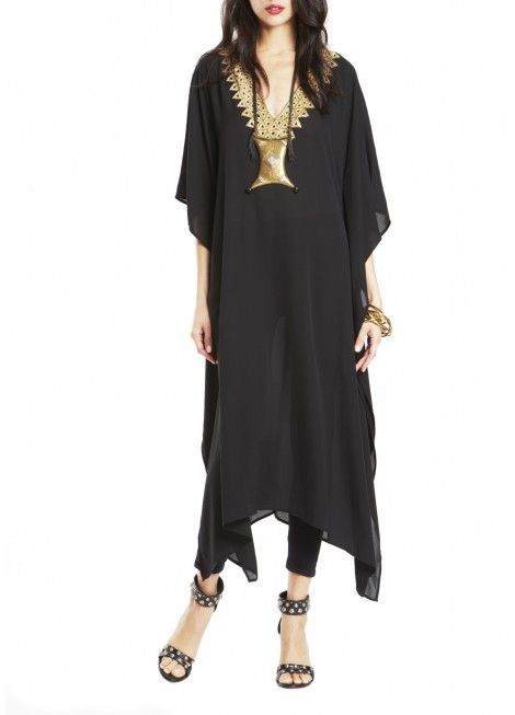Loving this look from Figue! BLACK ELIZA KAFTAN WITH COSIMA BEADING