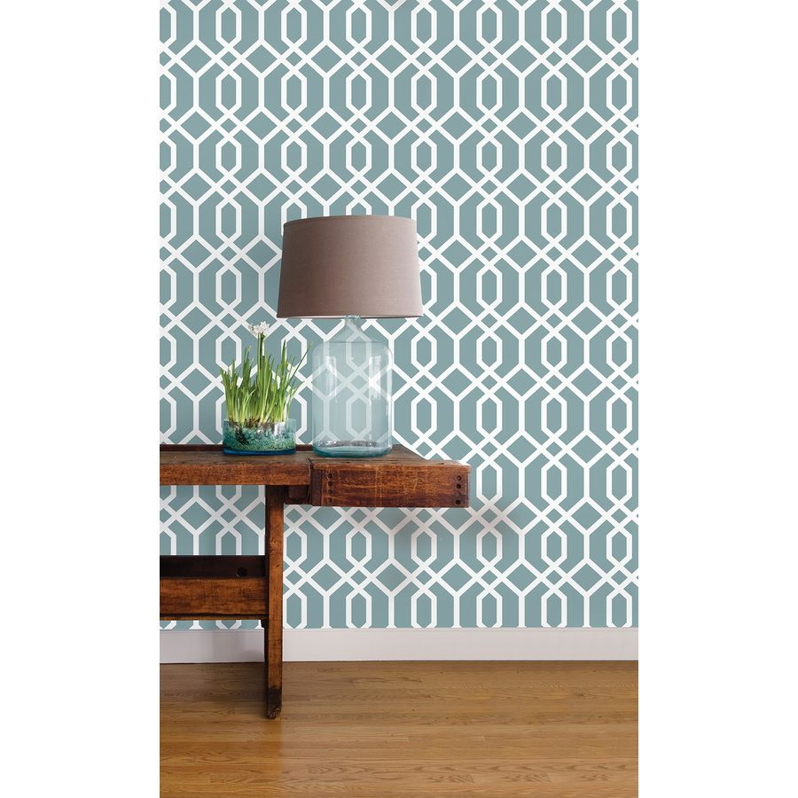 Brewster Wallcovering 30.75sq ft Blue Vinyl Geometric
