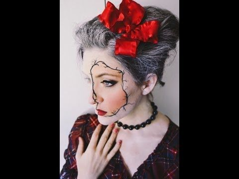 cracked porcelain girl makeup tutorial for halloween