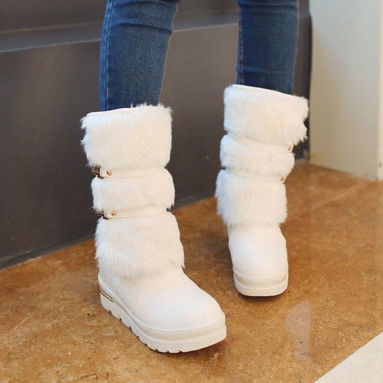 Fur Women Snow Boots Wedges Platform Rhinestone Winter Shoes