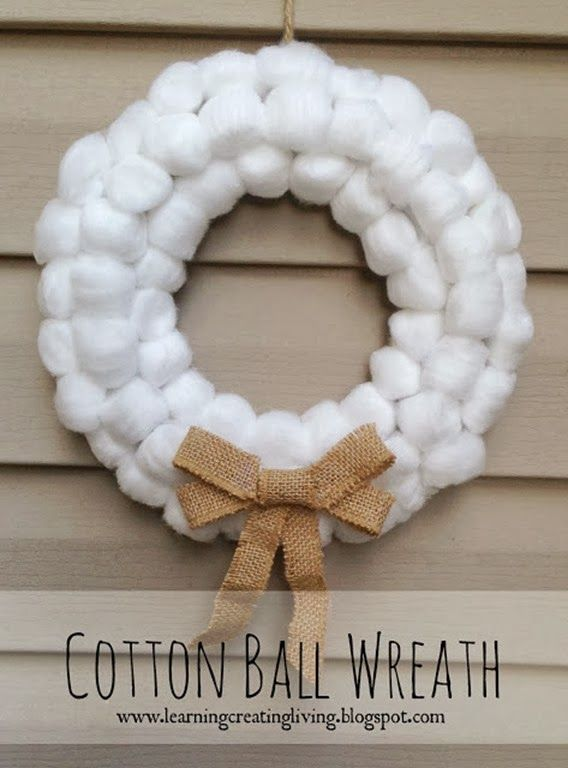 10 Diy Holiday Wreaths With Images Winter Decorations Diy Cotton Ball Crafts Ball Wreath