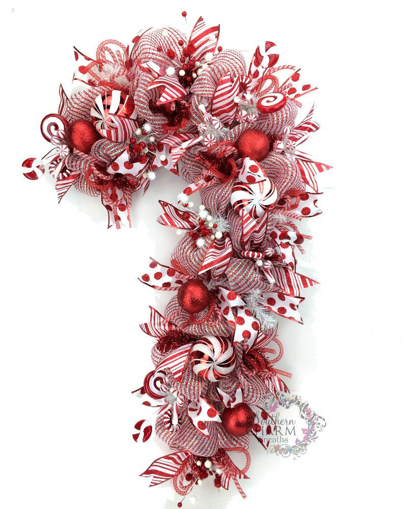 Deco mesh christmas wreath candy cane door wreath red for Door garland christmas