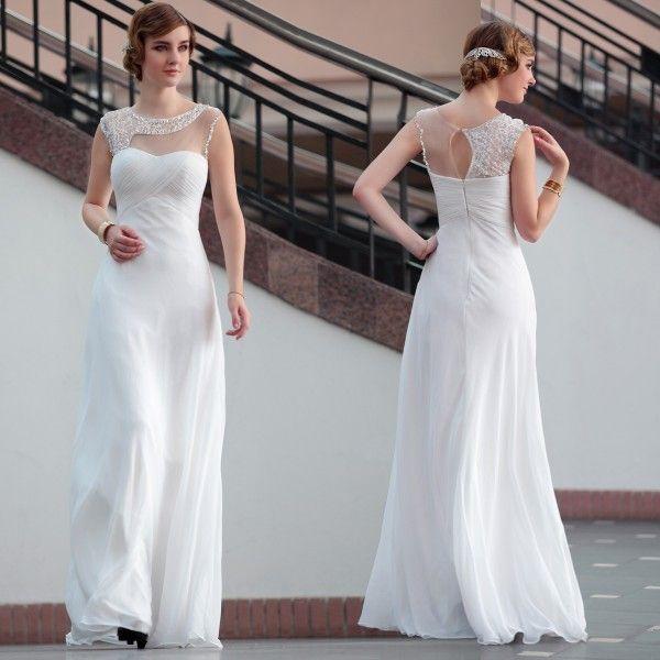 Lace Floor Length White Semi Formal Dresses