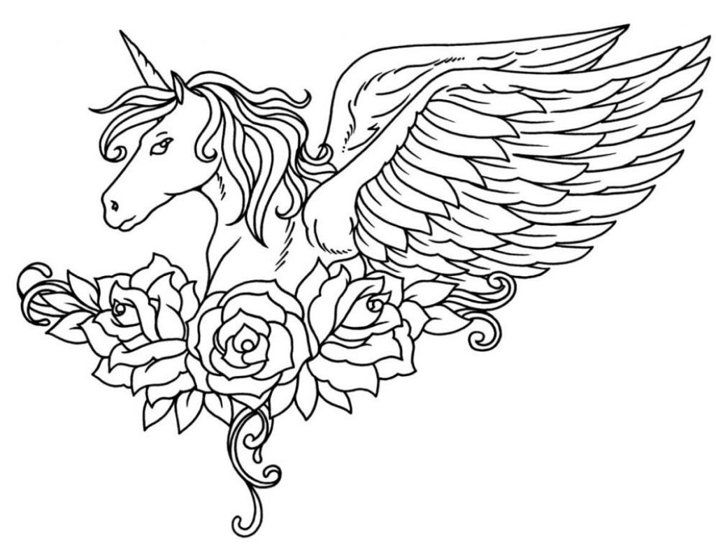 Ornate Winged Unicorn With Flowers Coloring Page For Adults ...