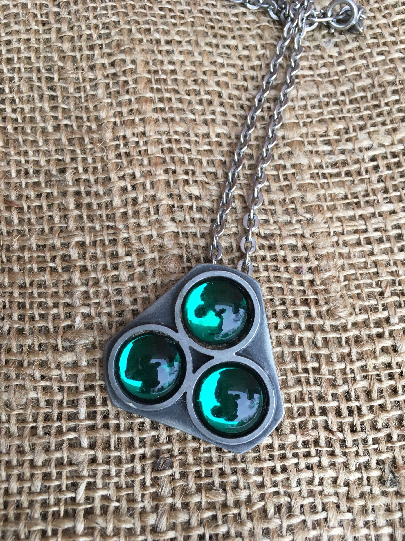 Mid century modern bent larsen pendant green cabochons set in tin