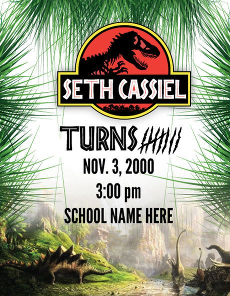 This is a Jurassic Park theme invitation with thank you cards and stickers for free download.