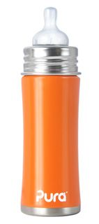 Pura Kiki Stainless Steel 11oz. Baby Bottle - color: orange, $15.95 at theglassbabybottle.com
