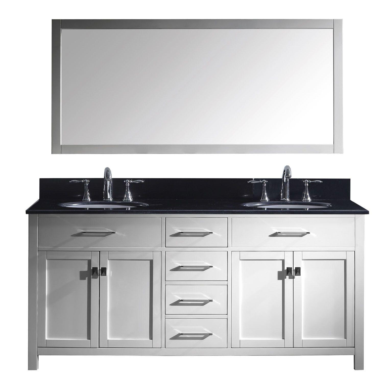 virtu usa caroline 72 double round sink white top vanity in white rh pinterest co uk