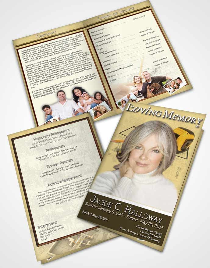 Bifold Order of Service Obituary Template Brochure Khaki Architect