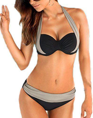Aidonger Damen Elegant Weiß und Schwarz Bikini-Sets Neckholder Push-Up  Bademode Zweiteilig Strandmode: Amazon.de: Bekleidung