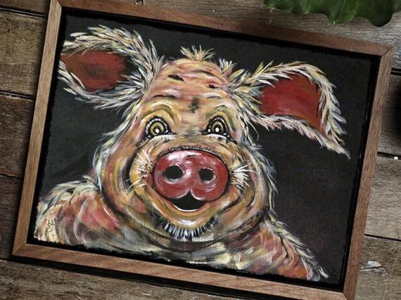 Farmhouse Pig Decor Original Handpainted Canvas Painting Colorful