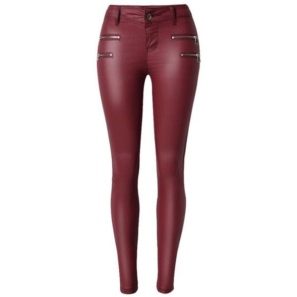 Zippers Faux Leather Low  Rise Pants (1.875 RUB) ❤ liked on Polyvore featuring pants, bottoms, rosegal, faux leather pants, fake leather pants, vegan leather pants, red trousers and red faux leather pants