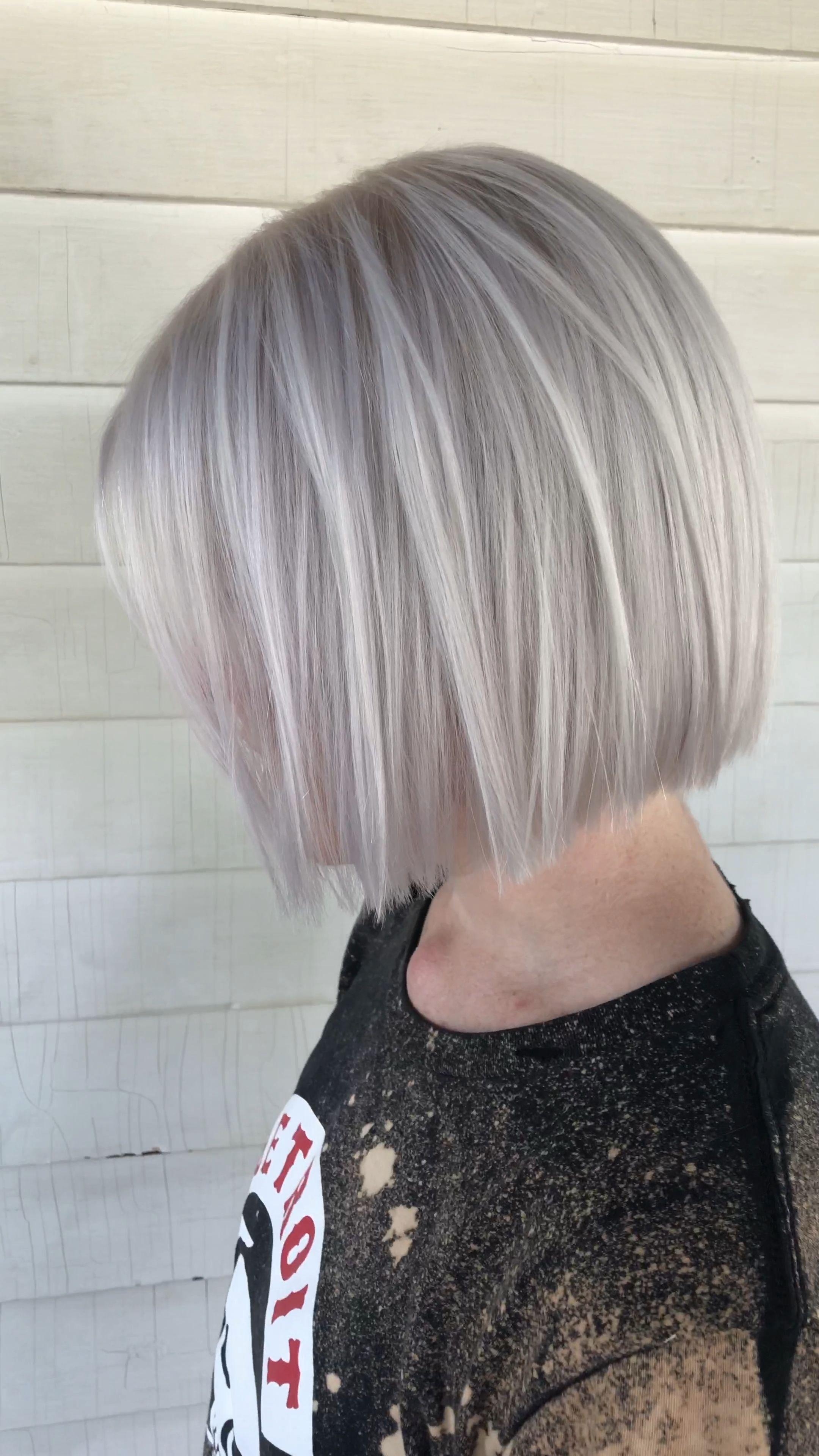 Ashy platinum blonde on short bob haircut