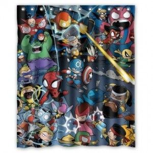 Avengers Shower Curtain Bathroom Decor Iron Man Thor Hulk Spiderman Wolverine Captain America