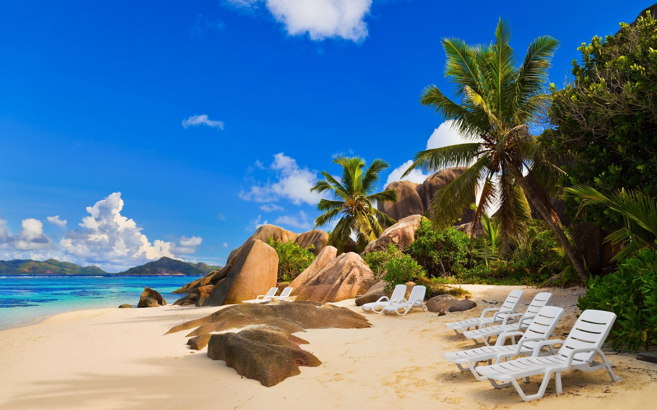 Chairs on exotic beach -. Beautiful Water Scenes Wallpapers . Awsome Landscape Wallpapers. HD Wallpaper Download for iPad and iPhone Widescreen 2160p UHD 4K