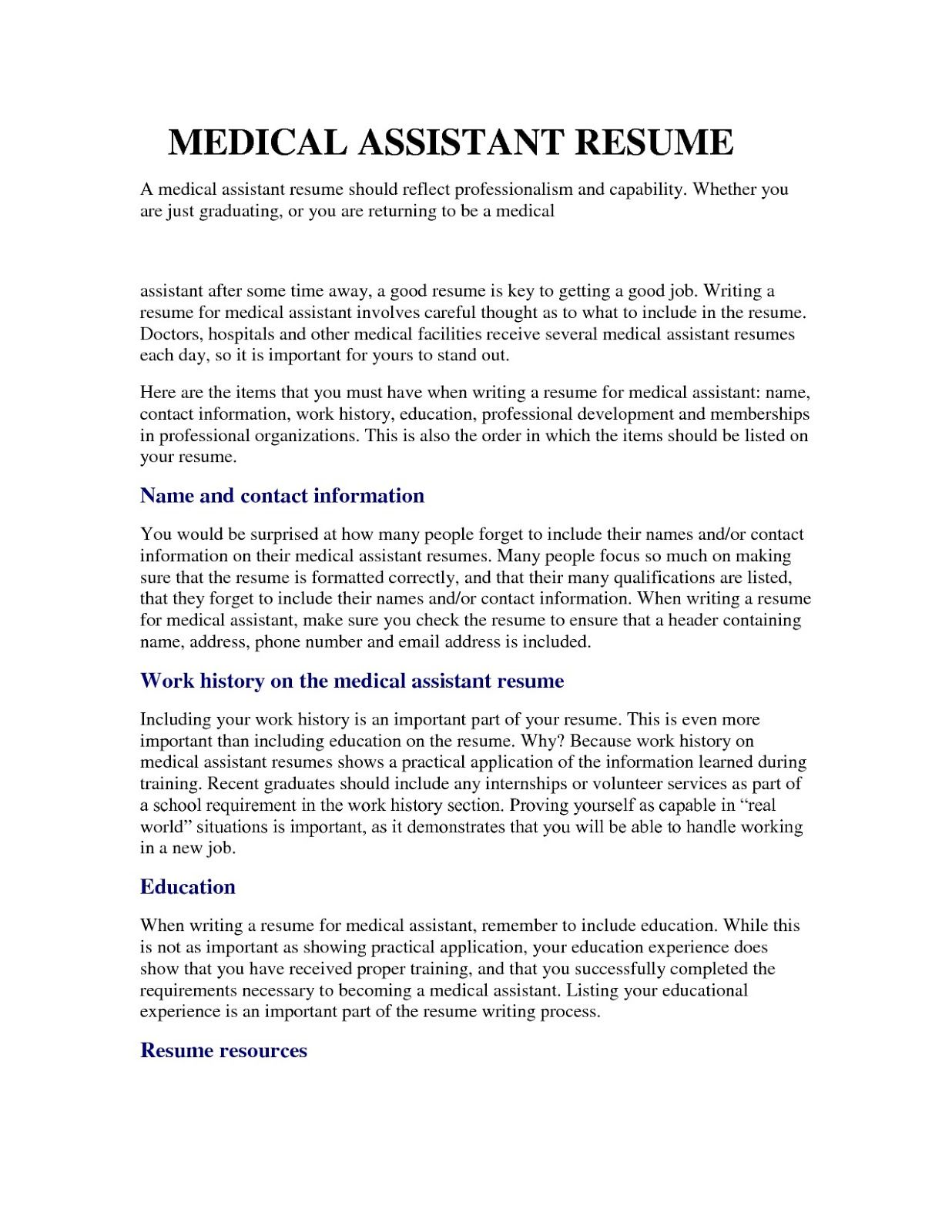 Medical Assistant Resume Examples Medical Assistant