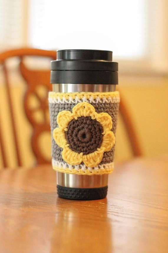 Sunflower Coffee Cup Cozy, Crochet Coffee Cozy, Flower Coffee Cup Sleeve, Coffee Lover Gift, Tea Lover Gift, Office Present, Teacher Gift #coffeecup
