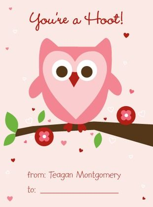 Owl Love - Valentine's Day Cards for Kids in a soft Chenille Pink. #ValentinesDay