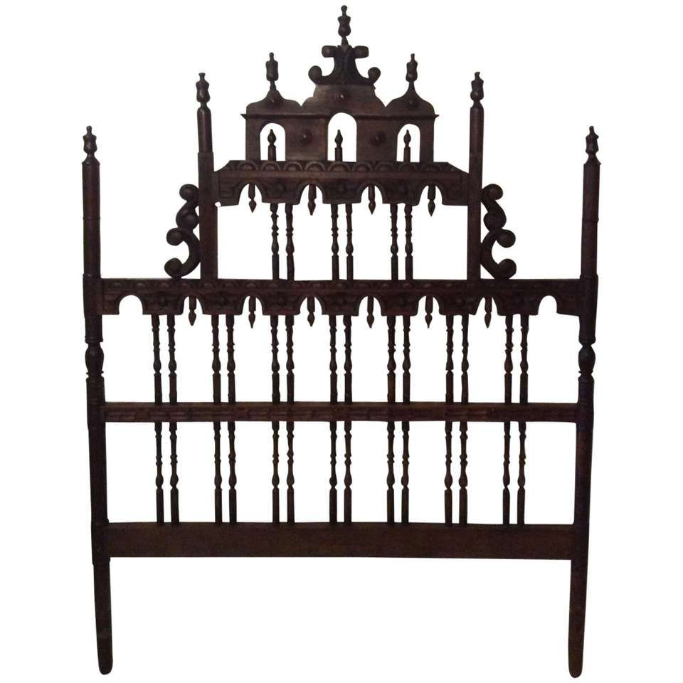 Pagoda Headboard Vintage Full Queen Ornate Spanish Spindle Wood Chinoiserie 1