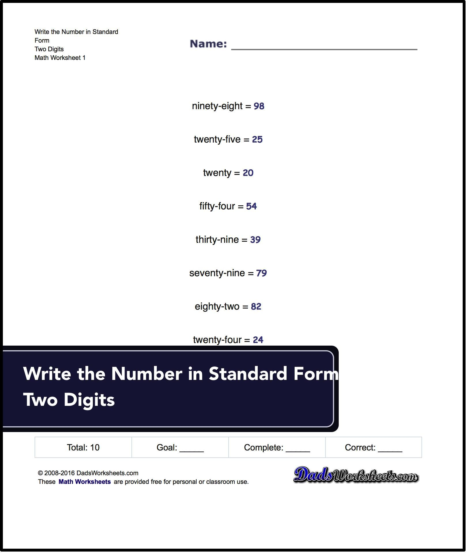 Standard expanded and word form write word from in standard form practice expanded form worksheets for converting numbers from standard numeric notation into expanded place value form falaconquin